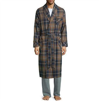 Stafford 2016男時尚灰白蘭地色格紋和服款絨布睡袍(預購)
