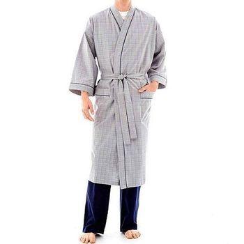 Stafford 2016男時尚灰色格紋和服款睡袍(預購)
