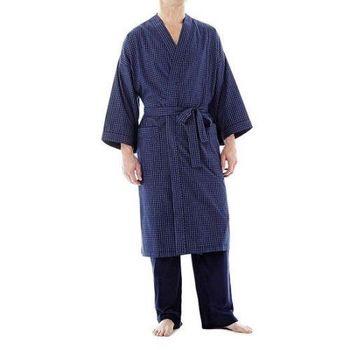 Stafford 2016男時尚寶藍色格紋和服款睡袍(預購)