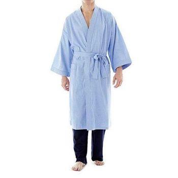 Stafford 2016男時尚法藍色格紋和服款睡袍(預購)