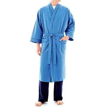 Stafford 2016男時尚鈷藍色條紋和服款睡袍(預購)