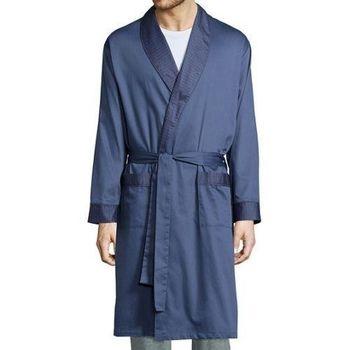 Stafford 2016男時尚Vintage靛藍色紋抗皺棉緞睡袍(預購)