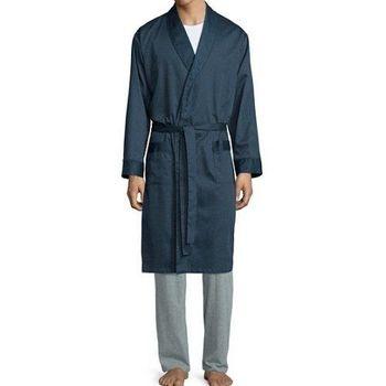 Stafford 2016男時尚Neat深藍色紋抗皺棉緞睡袍(預購)