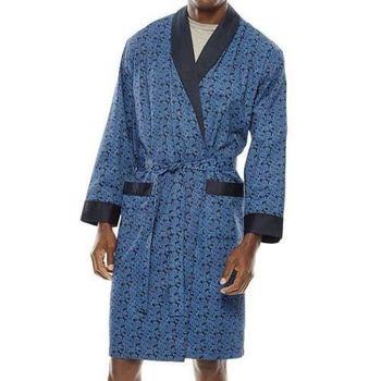 Stafford 2016男時尚鈷藍色螺旋花紋抗皺棉緞睡袍(預購)
