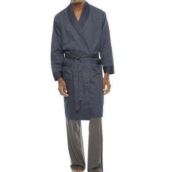 Stafford 2016男時尚Tri dot灰藍色紋抗皺棉緞睡袍(預購)