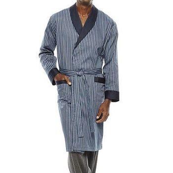 Stafford 2016男時尚藍條紋抗皺棉緞睡袍(預購)