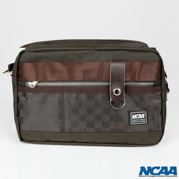 NCAA格子布紳士側背包(棕色、黑色)