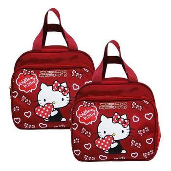 Hello Kitty抱愛心雙層便當袋-二入組