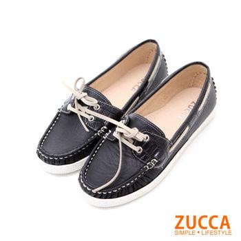 【ZUCCA】Z5602BK率性風格繫帶休閒鞋-黑色