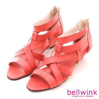 【bellwink】B8924RD日系交錯皮革紋路低跟涼鞋-紅色