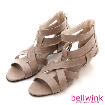 【bellwink】B8924CL日系交錯皮革紋路低跟涼鞋-駝色
