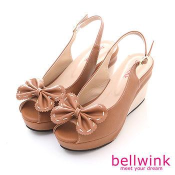 【bellwink】B8912CL雙層大朵結露趾踝扣厚底鞋-駝色