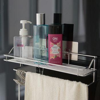 《舒適屋》髮絲紋無痕貼-不鏽鋼浴室毛巾置物架