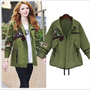 (現貨 RN-girls) 歐美秋裝新款帥氣軍綠色風衣外套