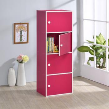 【好傢俱】四層門櫃-桃紅