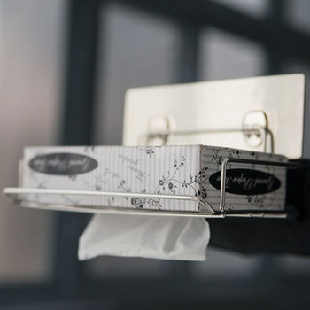 《舒適屋》髮絲紋無痕貼-304不鏽鋼面紙盒抽取架
