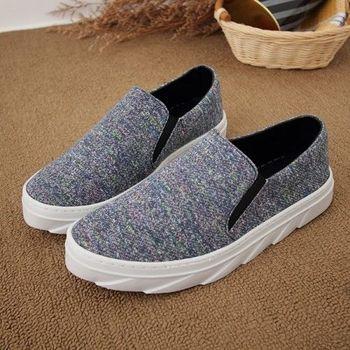 《DOOK》彩色雷射色系織面台灣製懶人休閒鞋-彩藍