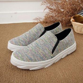 《DOOK》彩色雷射色系織面台灣製懶人休閒鞋-彩灰