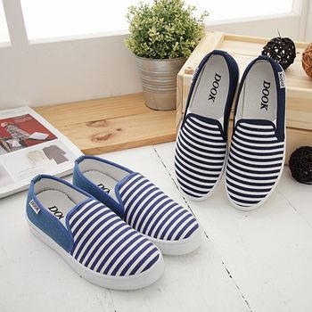《DOOK》無印風條紋小清新平底懶人鞋-2色