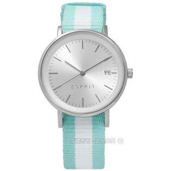 ESPRIT / ES108362001 / 浪漫tiffany小清新日期尼龍腕錶 銀x白綠 34mm
