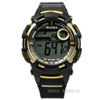 JAGA 捷卡 / M819-AL / 多功能陽光活力電子運動橡膠腕錶 金x黑 44mm