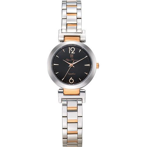 Olym Pianus 奧柏表 想樂份子流行簡約腕錶-黑X玫瑰金/35mm 5684LSR