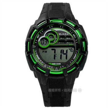 JAGA 捷卡 / M997-AF / 非凡帥氣活力電子運動橡膠腕錶 綠x黑 44mm