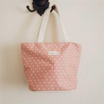 【ZARATA】韓國田園風-點點棉麻布藝收納手提包
