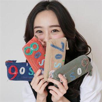 【ZARATA】韓系色彩數字拼接貼布收納筆袋(2入)