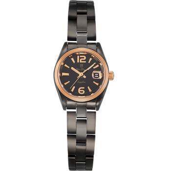 Olym Pianus 奧柏表 絕色時尚石英腕錶-黑X玫瑰金/25mm 89341LBR