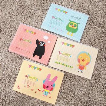 【ZARATA】快樂家族A4防水文件夾鏈袋(4入)