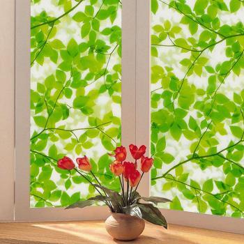 日本 MEIWA 節能抗UV靜電窗貼 (綠葉盈窗) 46x100公分