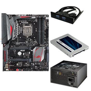 【華碩精選】ASUS MAXIMUS VIII HERO 主機板+伽利略 3.5前置雙USB3面板+美光MX200 250GB固態硬碟+銀蝶600W 80PLUS電源