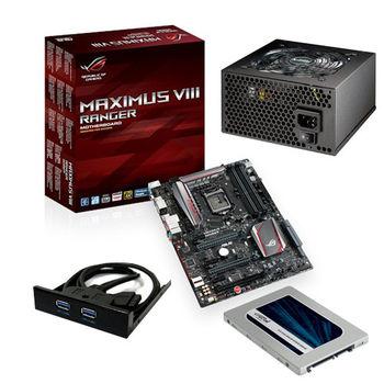 【華碩精選】ASUS MAXIMUS VIII RANGER 主機板+伽利略 3.5前置雙USB3面板+美光MX200 250GB固態硬碟+銀蝶600W 80PLUS電源