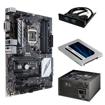【華碩精選】ASUS Z170-E 主機板+伽利略 3.5前置雙USB3面板+美光MX200 250GB固態硬碟+銀蝶600W 80PLUS電源