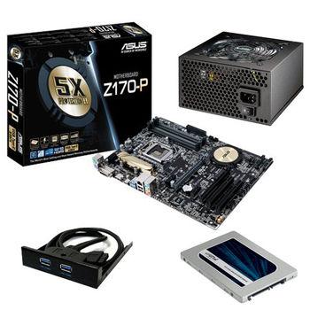 【華碩精選】ASUS Z170-P 主機板+伽利略 3.5前置雙USB3面板+美光MX200 250GB固態硬碟+銀蝶600W 80PLUS電源