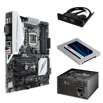 【華碩精選】ASUS Z170 PRO 主機板+伽利略 3.5前置雙USB3面板+美光MX200 250GB固態硬碟+銀蝶600W 80PLUS電源