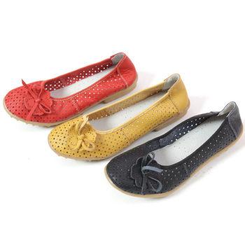 【Moscova】手工真皮系列。小花襯蝴蝶結縷空娃娃鞋