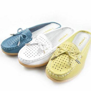 【Moscova】手工真皮系列 舒適點點蝴蝶結女款懶人休閒鞋