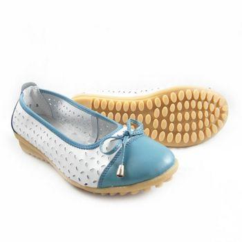 【Moscova】手工真皮系列 甜美風縷空蝴蝶結裝飾休閒女鞋