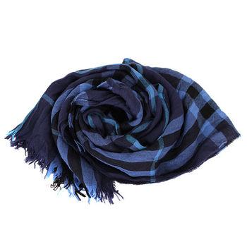 BURBERRY 經典格紋流蘇圍巾(藍系)