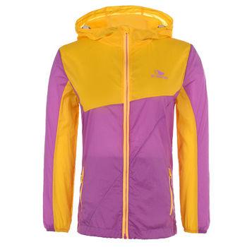 【聖伯納 St.Bonalt】女中童-撞色拼接防曬連帽風衣-黃/紫(80133)