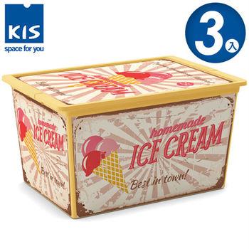 【義大利KIS創意收納】CBOX甜點系列收納箱(冰淇淋) (附滾輪)-(XL) *3入