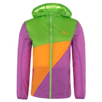 【聖伯納 St.Bonalt】女中童-撞色拼接防曬連帽風衣-綠黃紫(80133)