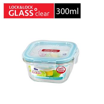 【樂扣樂扣】耐熱玻璃保鮮盒方形-蒂芬妮藍-300ml(LLG205BE)