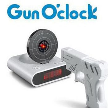 【ZARATA】Gun Oclock懶人鬧鐘 手槍打靶射擊鬧鐘