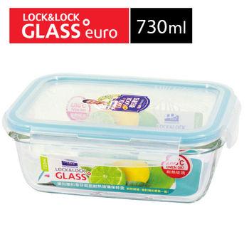 【樂扣樂扣】耐熱玻璃保鮮盒長方形-蒂芬妮藍-730ml(LLG430BE)