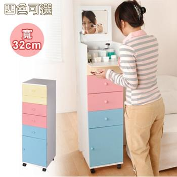 《C&B》粉彩直立式細縫便利化妝收納櫃