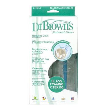 GMP BABY 美國Dr. Brown 玻璃標準口徑防脹氣順流大奶瓶250ml二入裝