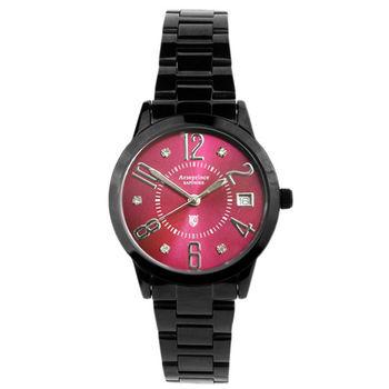 【Arseprince】時尚新魅力晶鑽女錶-黑紅